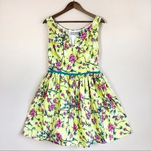 eShakti Yellow Floral Fit and Flare Mini Dress 34